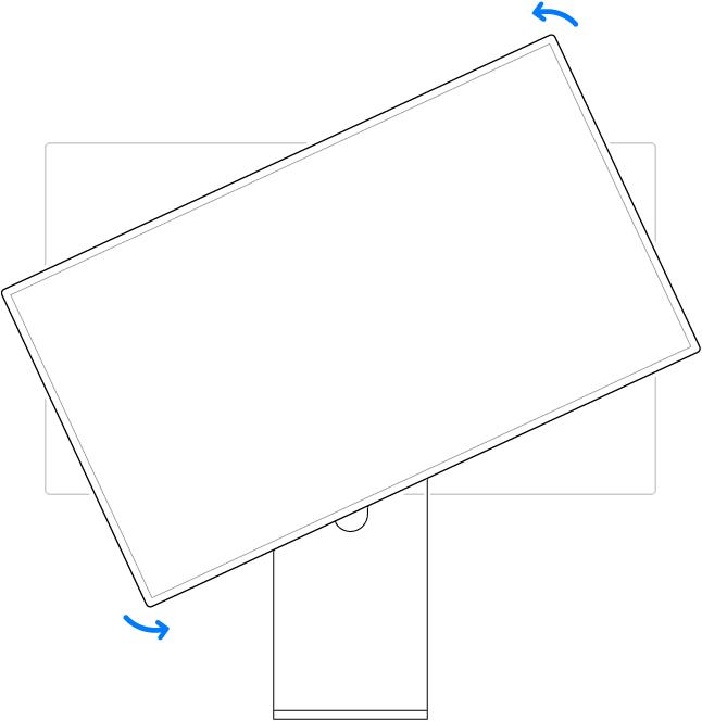 Het beeldscherm wordt linksom gedraaid.