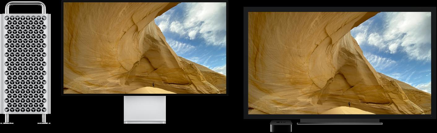Skjerminnholdet fra en MacPro vises på en stor HDTV ved hjelp av AppleTV.
