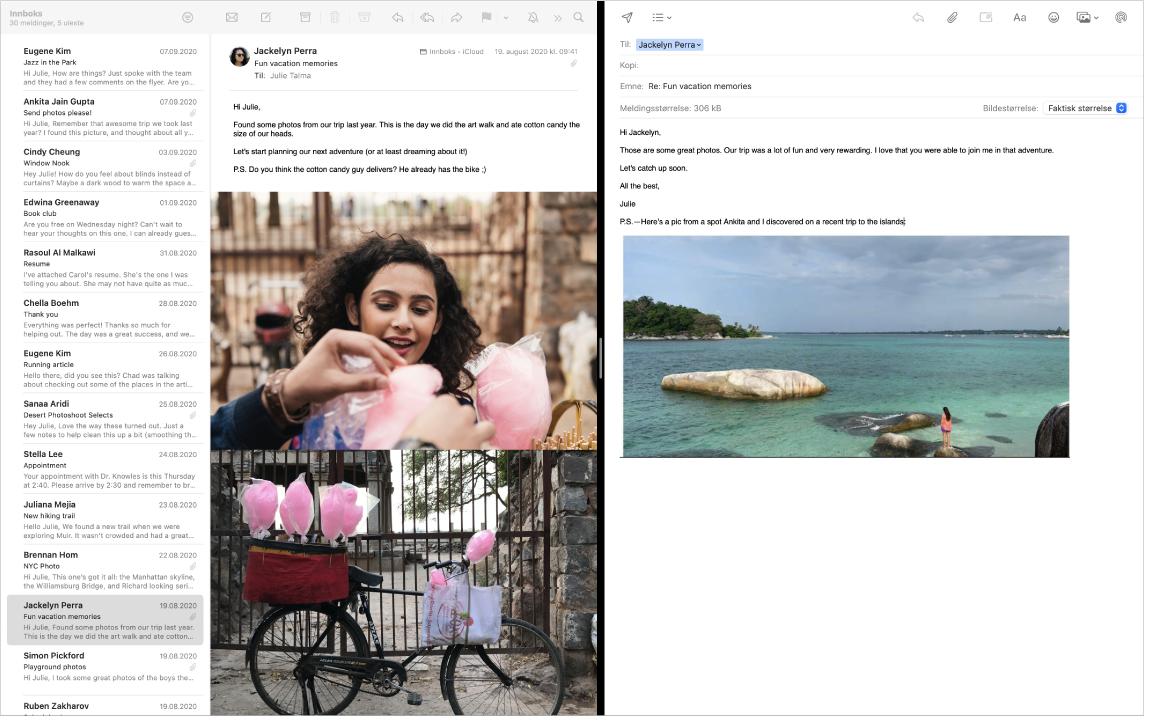 Et Mail-vindu i delt visning, som viser to meldinger side ved side.
