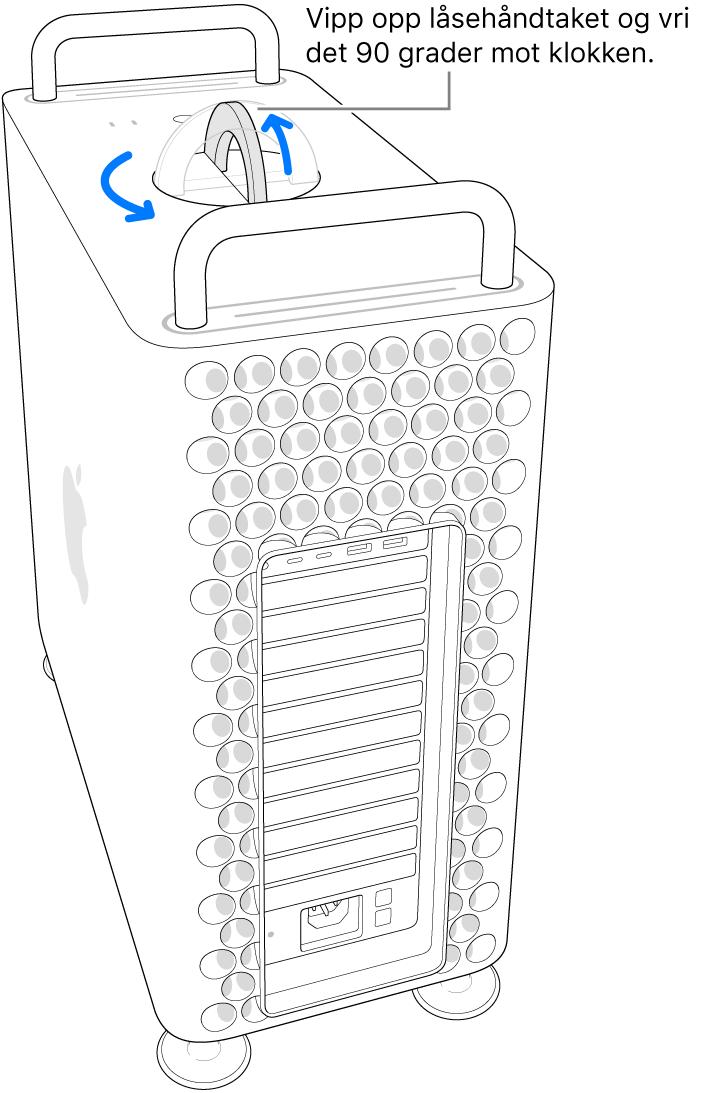 Viser det første trinnet for å fjerne datamaskinens kabinett ved å løfte låsehåndtaket og vri det 90 grader.