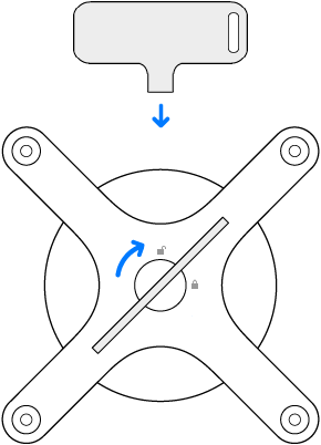 Nøkkelen og adapteren roteres med urviseren.