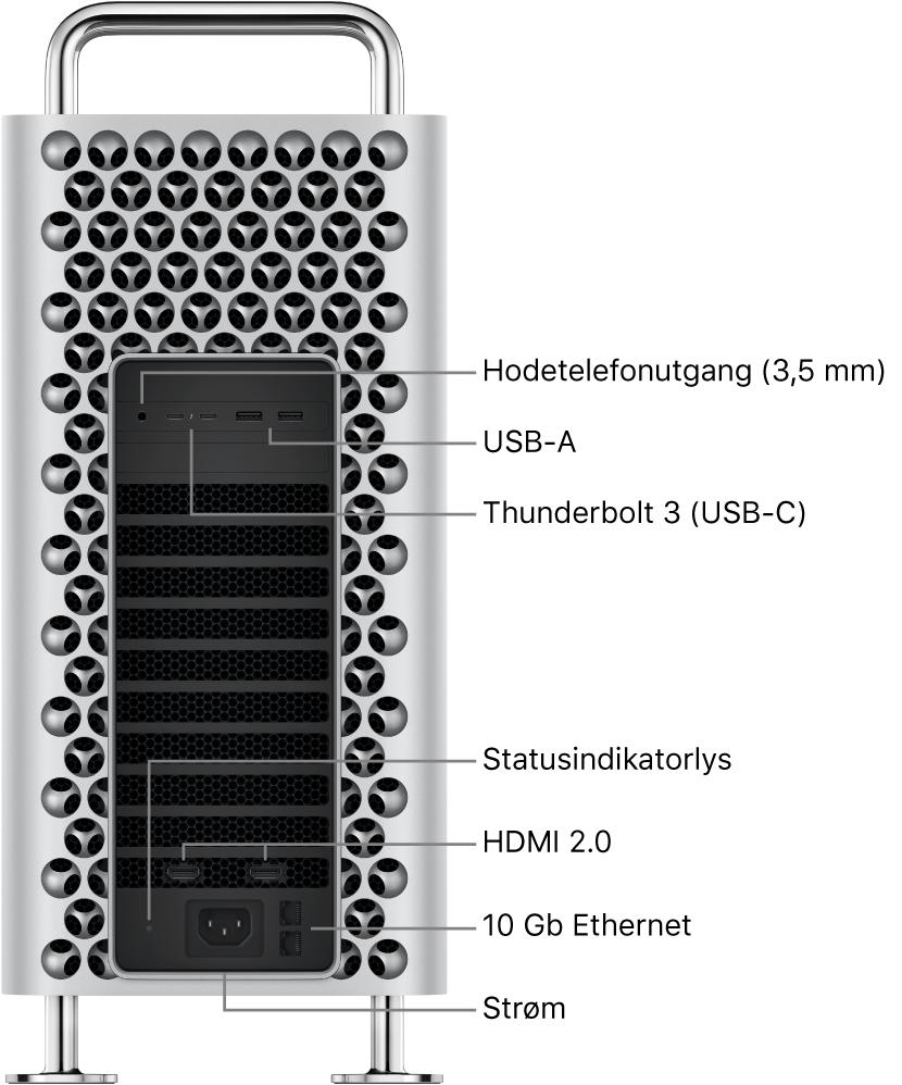 MacPro fra siden som viser hodetelefonutgangen (3,5mm), to USB-A-porter, to Thunderbolt3-porter (USB-C), et statusindikatorlys, to HDMI 2.0-porter, to 10 Gigabit Ethernet-porter og strømporten.