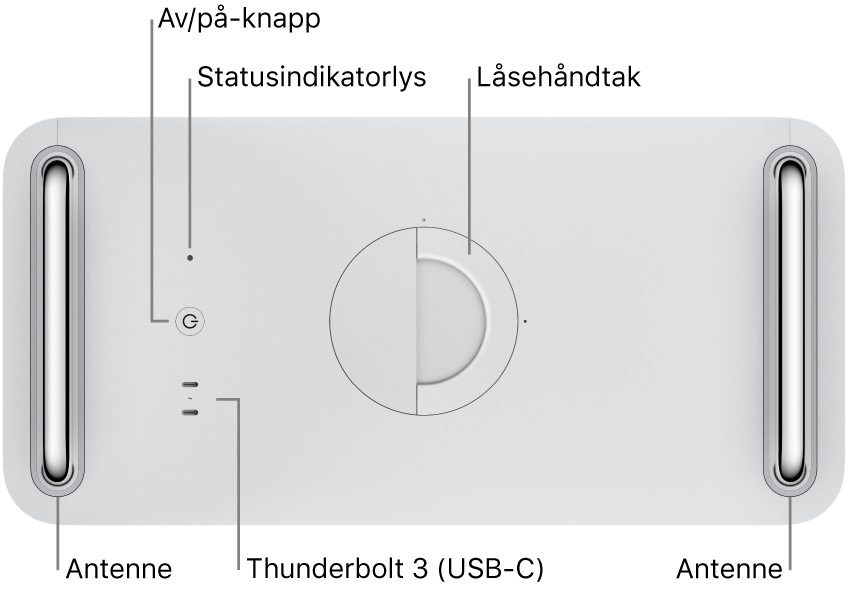Toppen av MacPro som viser av/på-knappen, systemindikatorlyset, låsehåndtaket, antenner og to Thunderbolt 3-porter (USB-C).