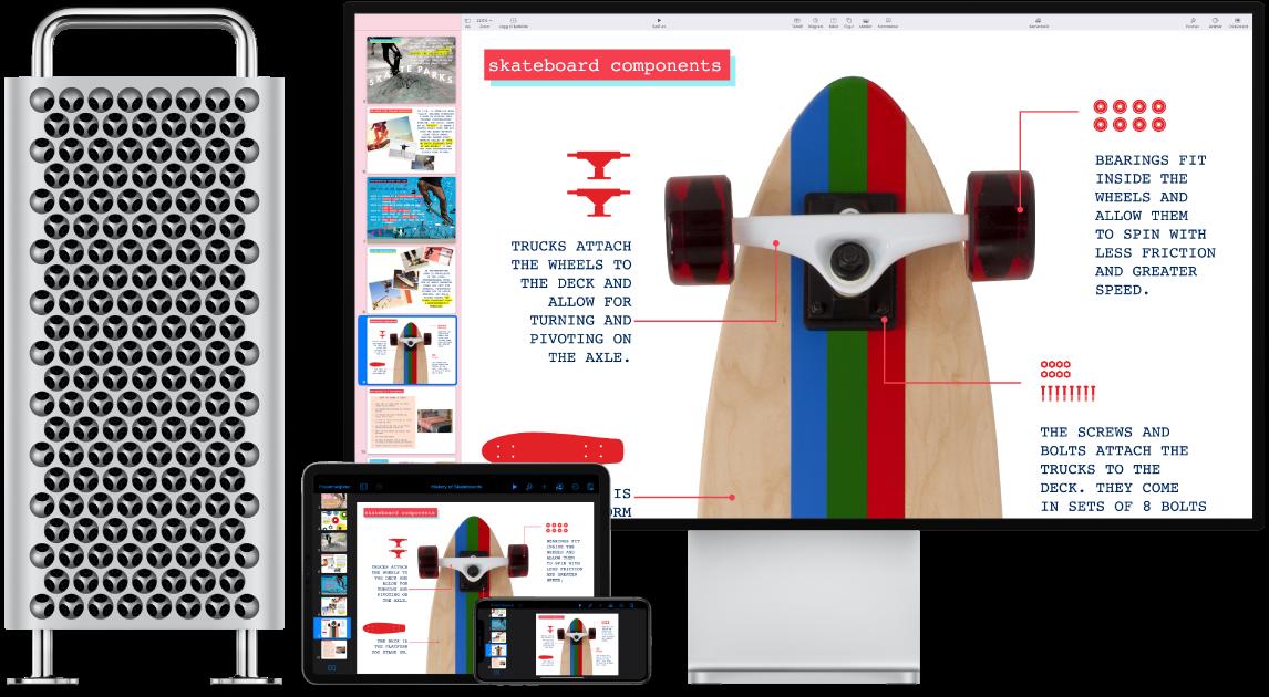 Identisk innhold vises på en MacPro, en iPad og en iPhone.