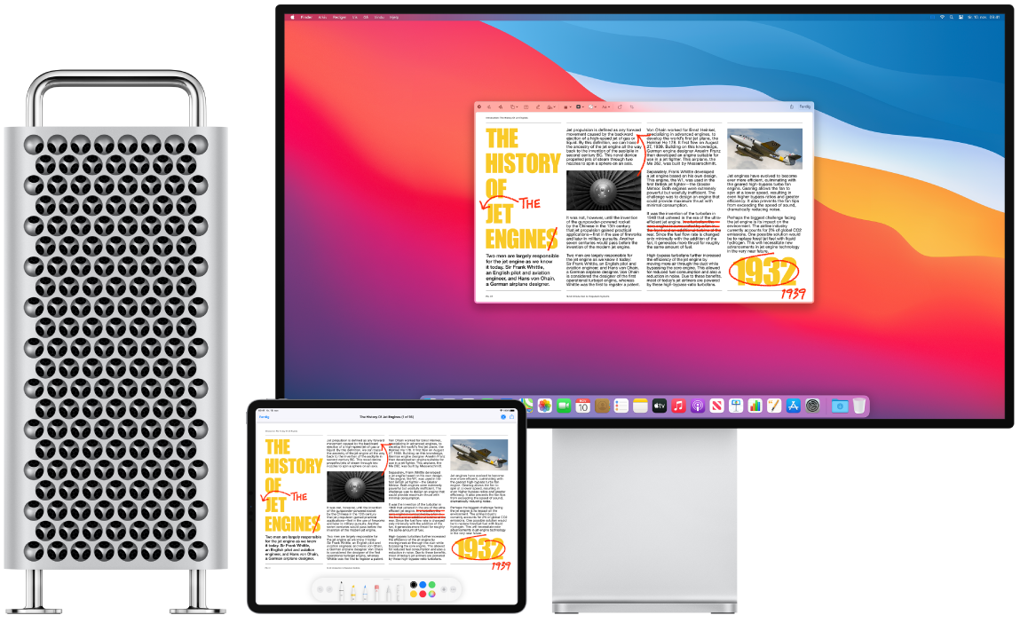 En MacPro og iPad ved siden av hverandre. Begge skjermene viser en artikkel som er full av røde merknader, for eksempel utkryssede setninger, piler og ekstra ord. På iPaden vises også kontroller for merking nederst på skjermen.
