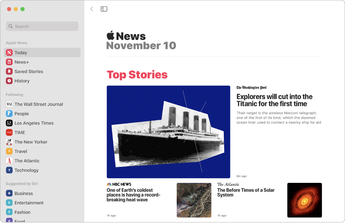 Et News-vindu som viser listen din og Top Stories-visningen.