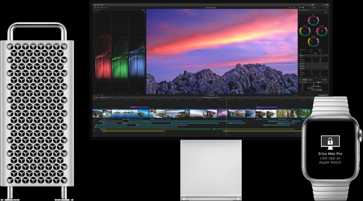 En MacPro og skjermen ved siden av en AppleWatch som viser en melding om at klokken har låst opp Macen.