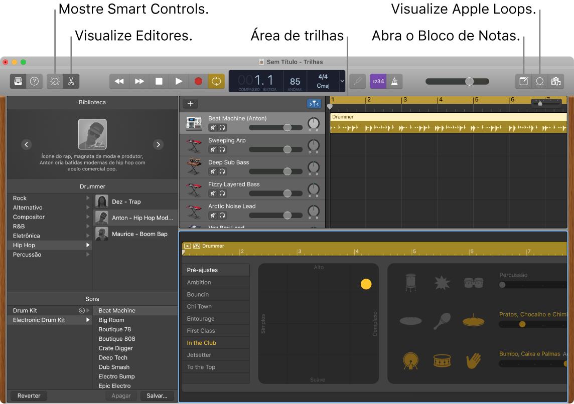 Uma janela do GarageBand mostrando botões para acessar Smart Controls, Editores, Anotações e Apple Loops. Tela de trilhas também são mostradas.
