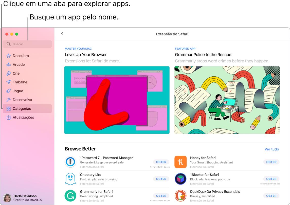 A janela da App Store mostrando o campo de busca e uma página de Extensões do Safari.
