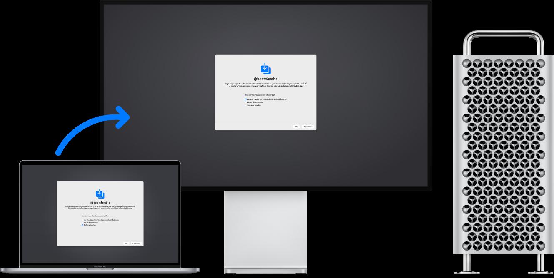 MacBook ที่แสดงหน้าจอผู้ช่วยการโยกย้าย เชื่อมต่ออยู่กับ Mac Pro ซึ่งเปิดหน้าจอผู้ช่วยการโยกย้ายอยู่เช่นกัน