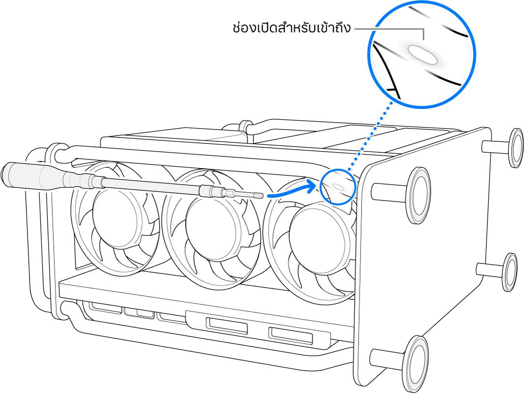 Mac Pro ที่วางตะแคงข้างอยู่พร้อมกับไขควงแบบยืดหยุ่นที่ชี้ไปยังช่องเปิด
