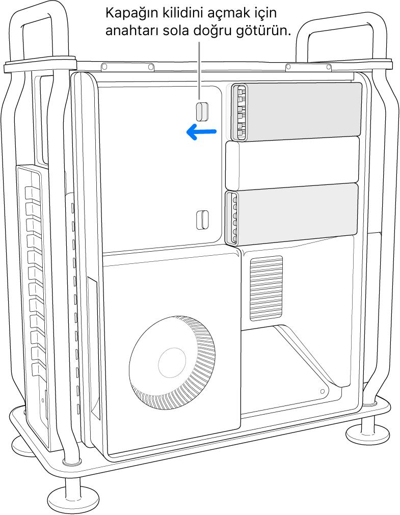Anahtar, DIMM kapağının kilidi açmak için sola taşınıyor.