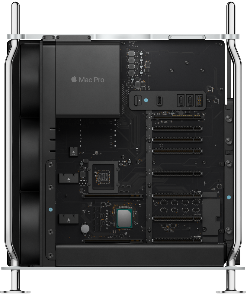 Kule tipi Mac Pro'nun iç görüntüsü.