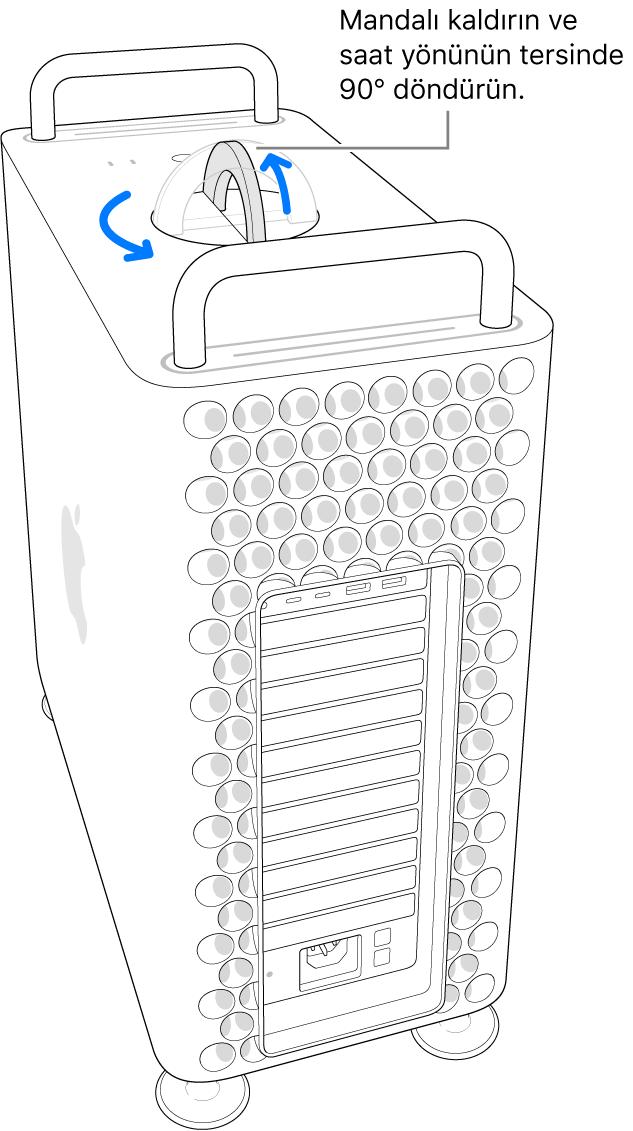 Mandal kaldırılıp 90 derece döndürülerek bir bilgisayarın kasasını çıkarma ilk adımı gösteriliyor.