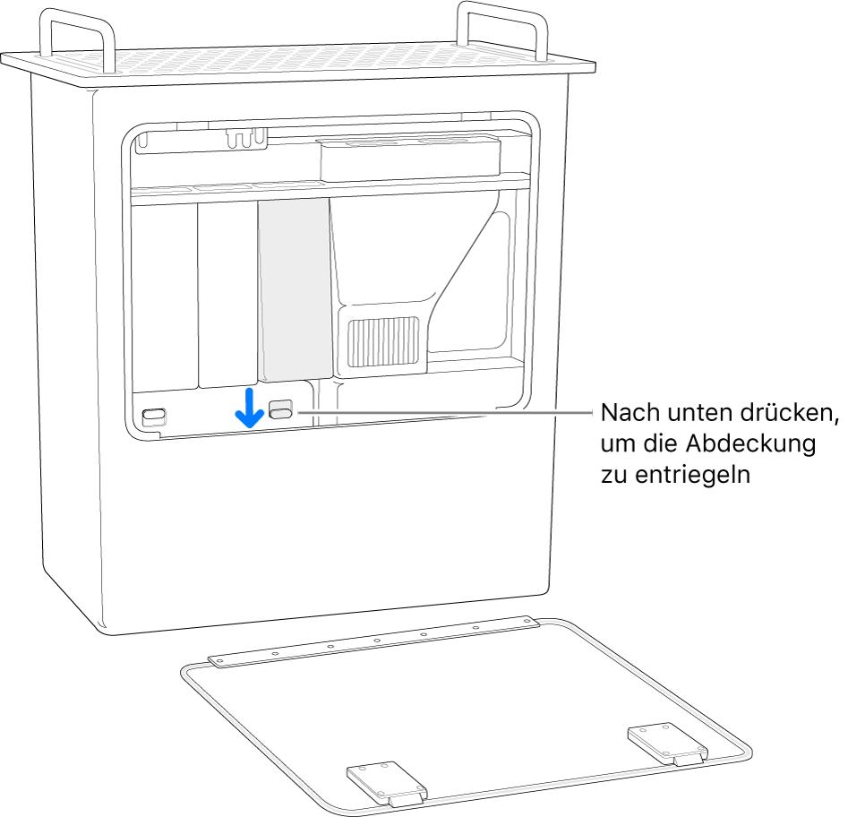 Der Mac Pro steht hochkant, der Schalter für die Verriegelungen der DIMM-Abdeckung ist hervorgehoben.