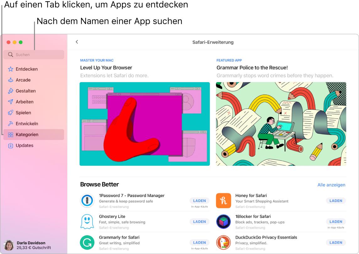 Das AppStore-Fenster zeigt das Suchfeld und eine Seite mit Safari-Erweiterungen.