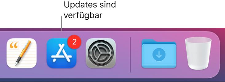 Ein Abschnitt im Dock mit dem App Store-Symbol, das mit einem Kennzeichen versehen ist, das anzeigt, dass Updates verfügbar sind