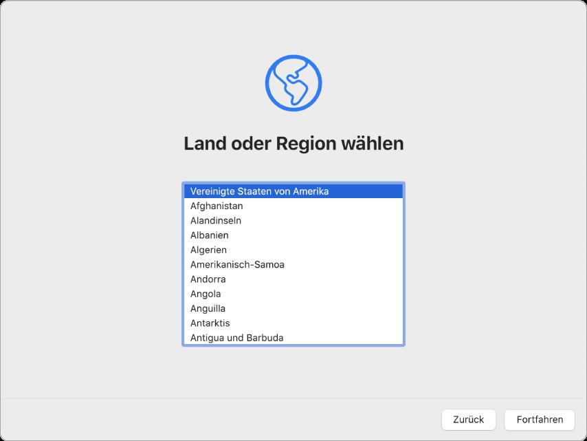 Ein Mac-Bildschirm mit geöffnetem Willkommensbildschirm des Systemassistenten