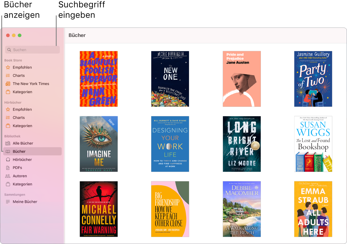 """Ein Fenster der App """"Bücher"""" mit Informationen zum Anzeigen von Büchern, zum Blättern in kuratierten Inhalten und zum Suchen."""