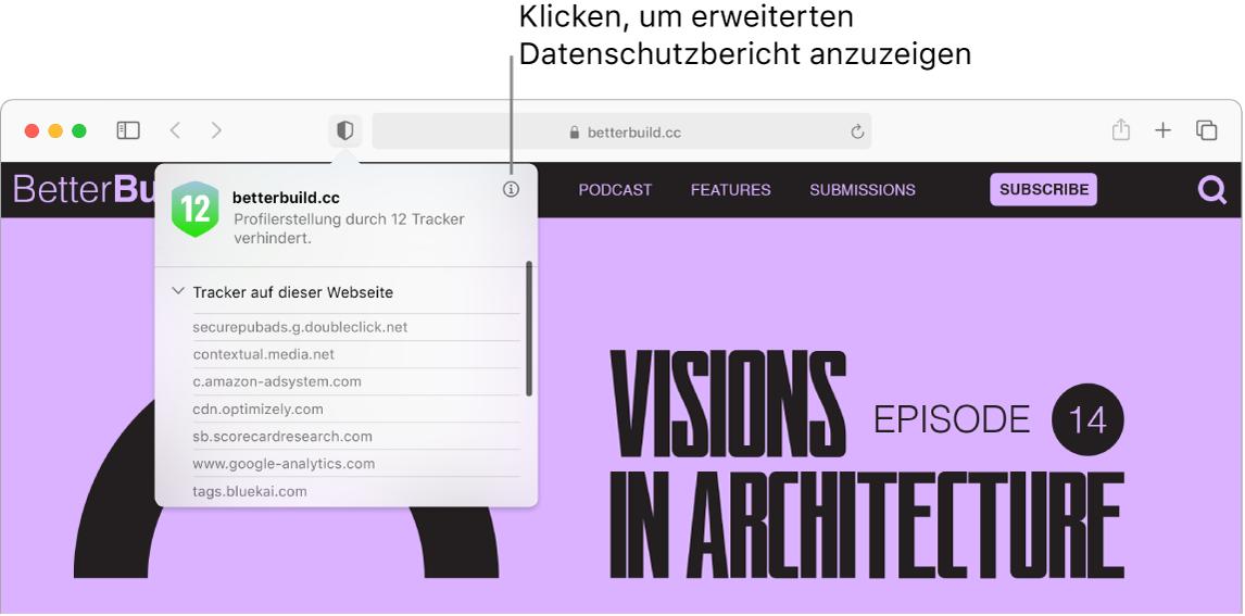 """Im Safari-Fenster werden Website-Einstellungen angezeigt, zu denen beispielsweise diese gehören: """"Reader verwenden"""" (sofern verfügbar), """"Inhalt-Blocker aktivieren"""", """"Seitenzoom"""", """"Automatische Wiedergabe"""" und """"Pop-Up-Fenster""""."""
