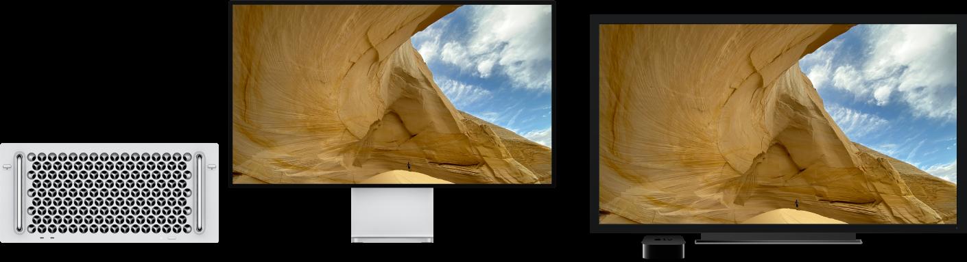 Ein MacPro, dessen Inhalt auf einem großen HDTV-Gerät über ein AppleTV gespiegelt wird.