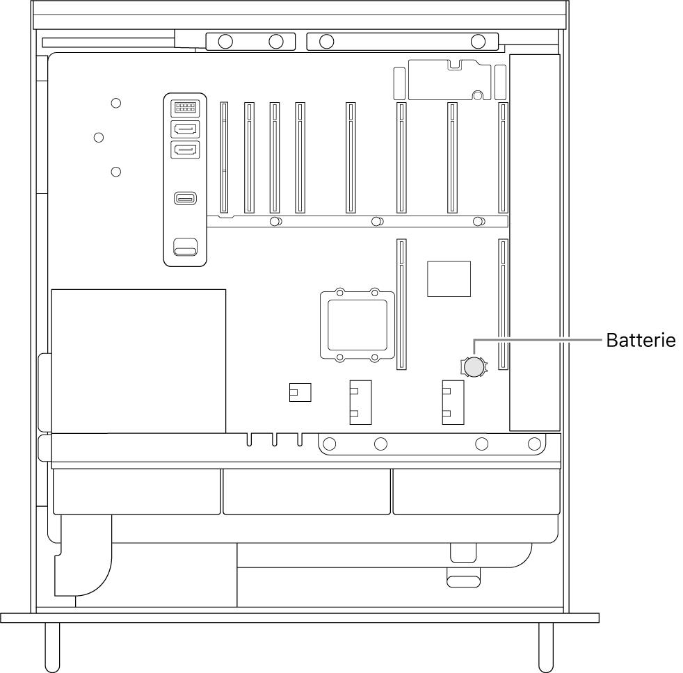 Seitenansicht des geöffneten MacPro-Gehäuses mit der Position der Knopfzellenbatterie.