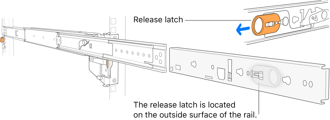 An extended rail assembly highlighting the release latch.