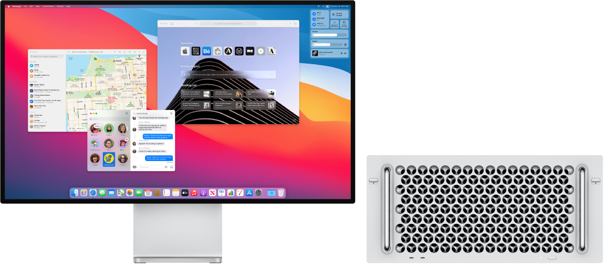A Mac Pro connected to a Pro Display XDR, with the desktop  showing Control Center and several open apps.