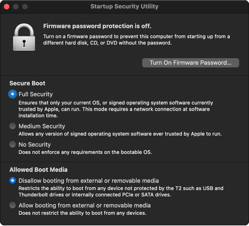 The Startup Security Utility window is open with an option checked for secure boot, and an option checked for external boot.