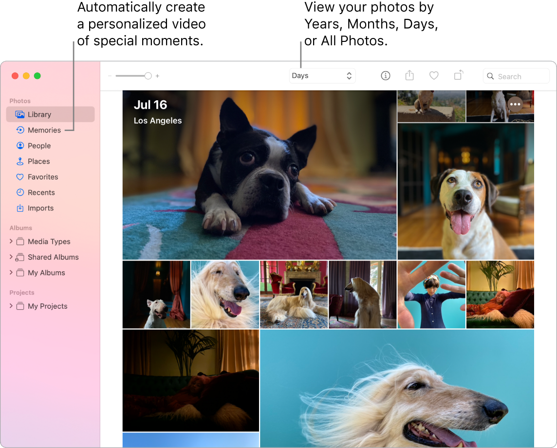 The Photos window showing the Memories feature in the left sidebar and the pop-up menu at the top of the Photos window where you can view the photos in your album by day, week, month, and year.