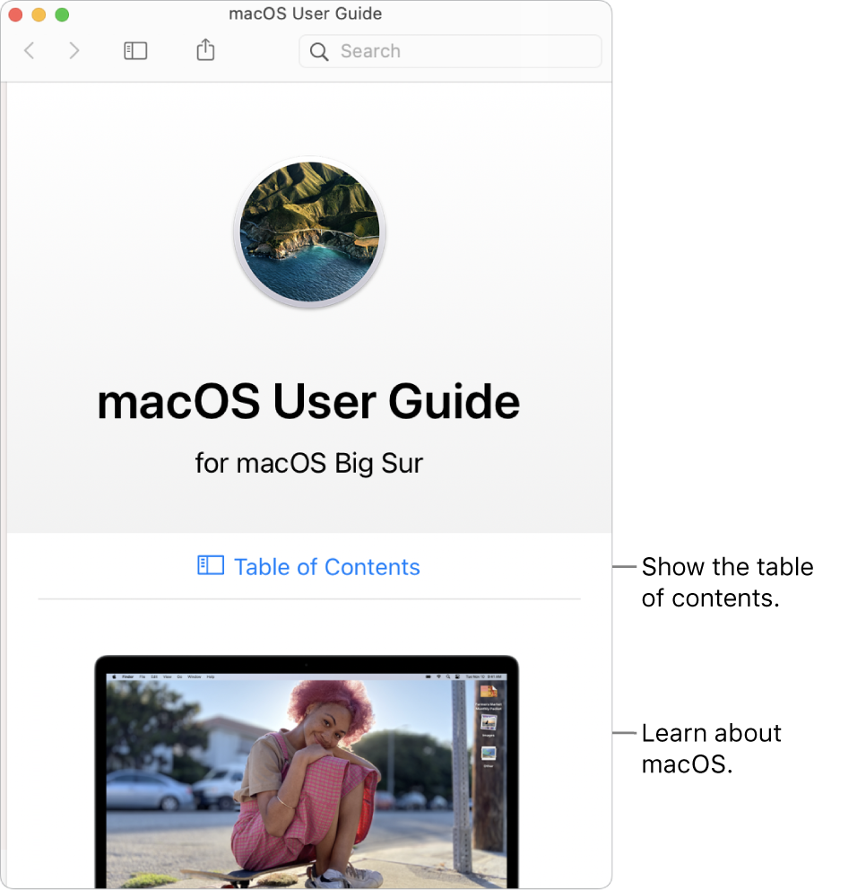 The macOSUser Guide welcome page showing the Table of Contents link.