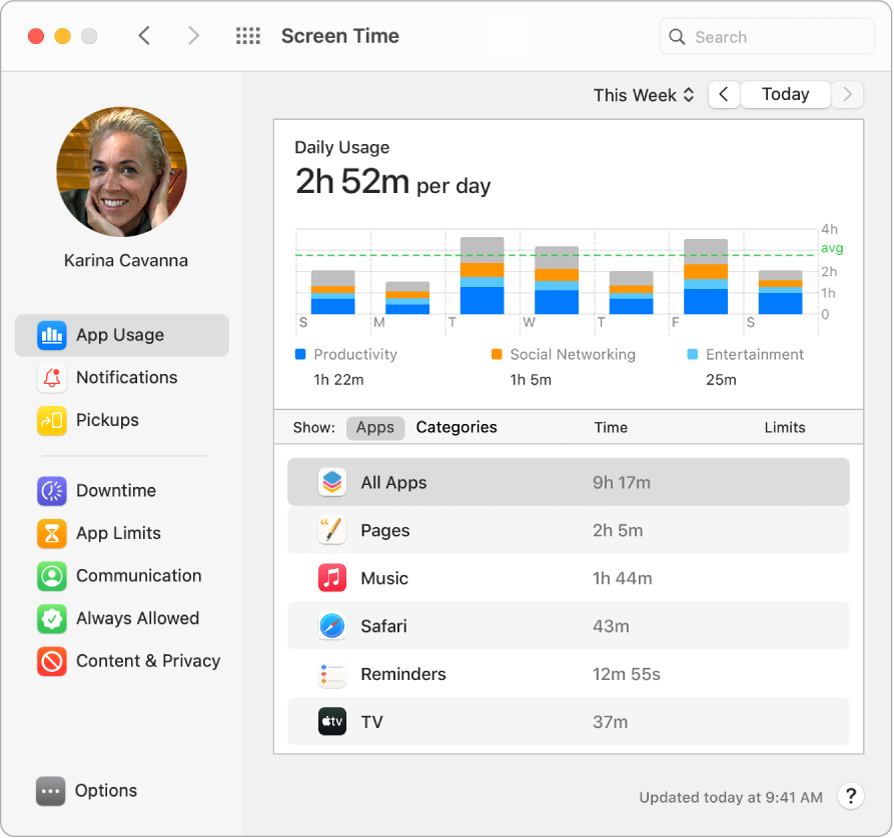 A Screen Time window showing the time spent with various apps.