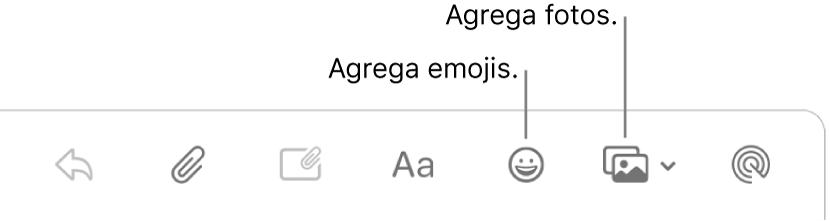 La ventana Redactar mostrando los botones de emoji y fotos.