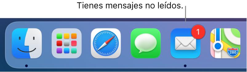 Una parte del Dock mostrando el ícono de la appMail con un indicador que muestra la cantidad de mensajes no leídos.