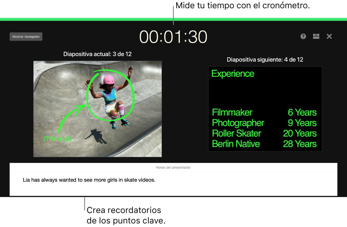 """Una ventana de Keynote mostrando la función """"Ensayar presentación de diapositivas""""."""