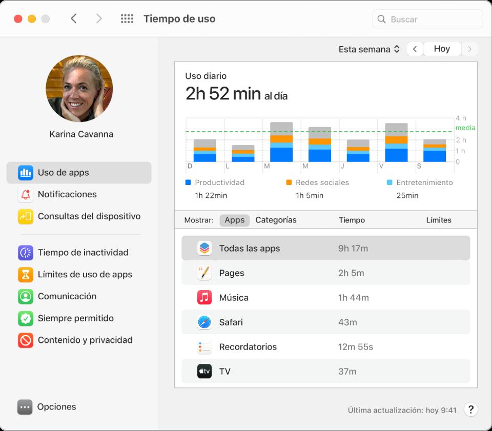 """Una ventana de """"Tiempo de uso"""" donde se ve el tiempo dedicado a varias apps."""