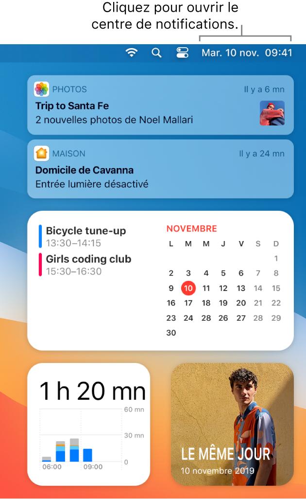 Un écran partiel du bureau affichant le centre de notifications ouvert avec l'onglet Aujourd'hui sélectionné.