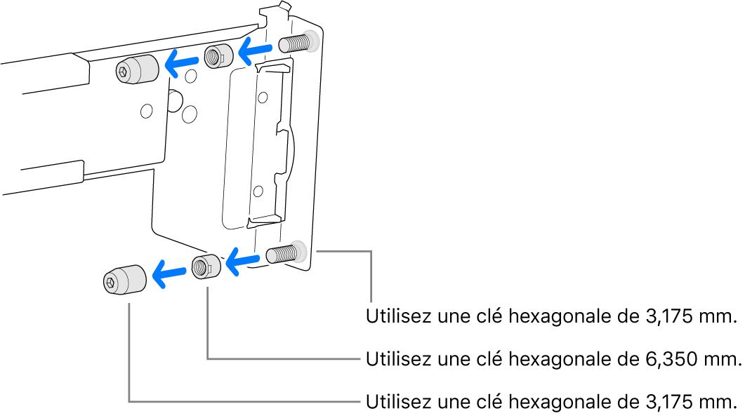 Une glissière qui passe dans un rack à trous filetés.