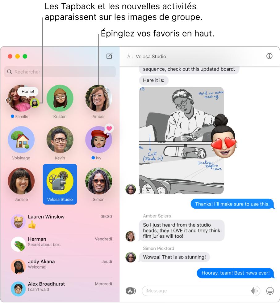 Fenêtre de Messages avec des conversations de groupe épinglées en haut de la colonne de gauche.