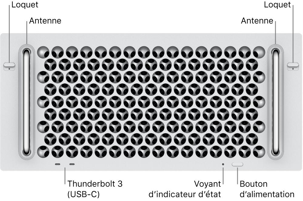 La face avant du MacPro avec deux ports Thunderbolt3 (USB-C), un voyant système, l'alimentation, un bouton et une antenne.