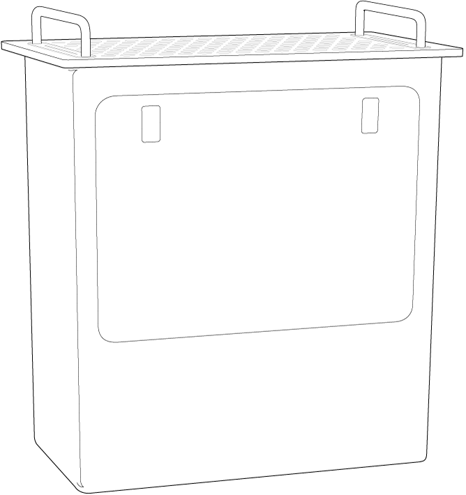 MacPro reposant sur son extrémité, avec l'ouverture latérale mise en évidence.