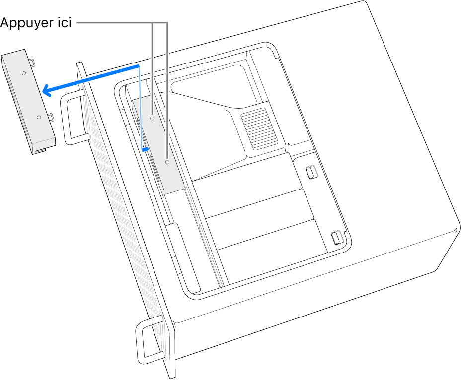 MacPro sur le côté et montrant l'endroit où appuyer pour retirer le cache du SSD.