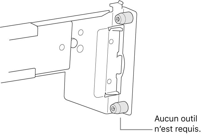 Une glissière qui passe dans un rack à trous carrés.