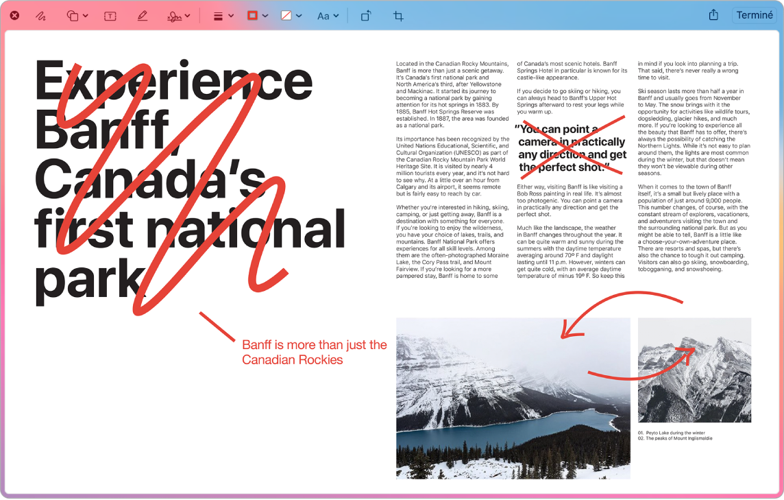 Une capture d'écran annotée affichant des modifications et des corrections en rouge.