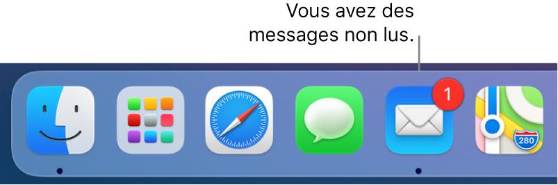 Section du Dock reprenant l'icône de l'app Mail et un médaillon, indiquant les messages non lus.