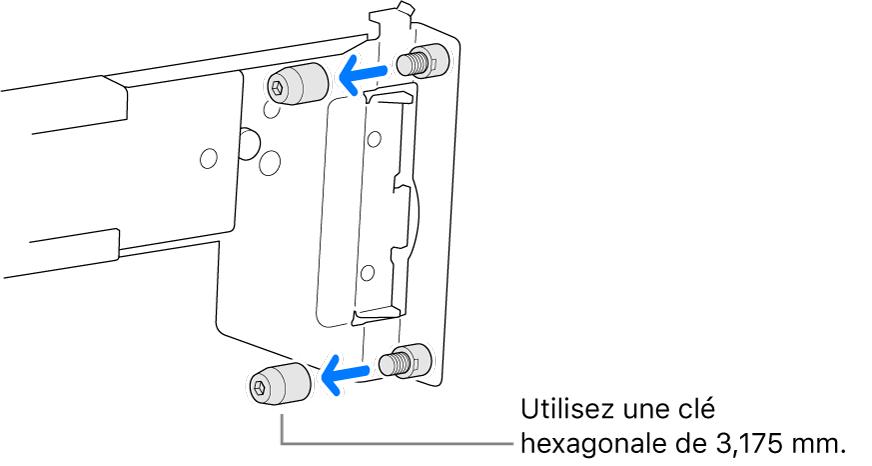 Une glissière qui passe dans un rack à trous ronds.