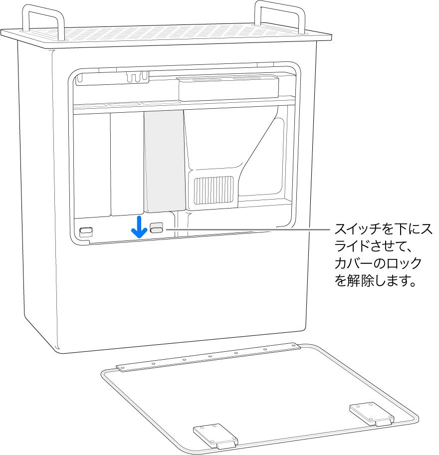縦に置いてあるMac Pro。DIMMカバーのロックを解除するスイッチがハイライトされています。