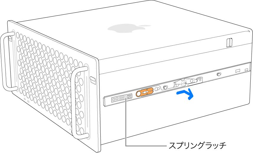 Mac Proの側面から取り外されているレール。