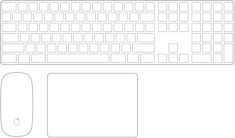 MacProに付属のMagicKeyboard(テンキー付き)とMagicMouse 2。