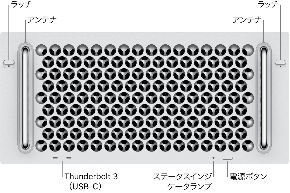 Mac Proの前面。2つのThunderbolt 3(USB-C)ポート、システム・インジケータ・ランプ、電源ボタン、アンテナが示されています。